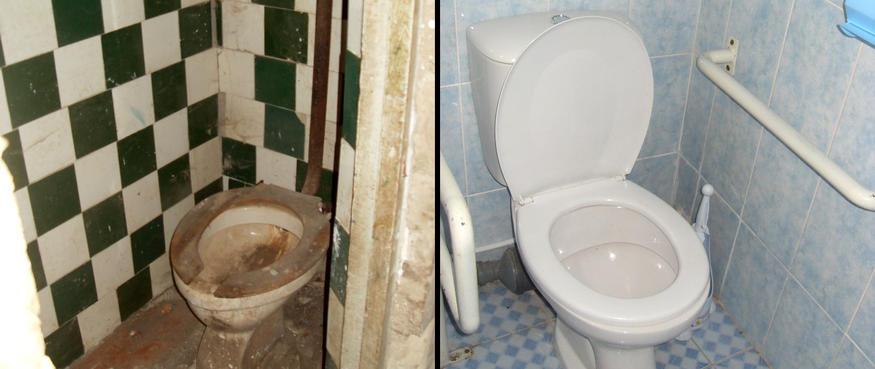 Bilden visar en toalett först före och sedan efter renovering