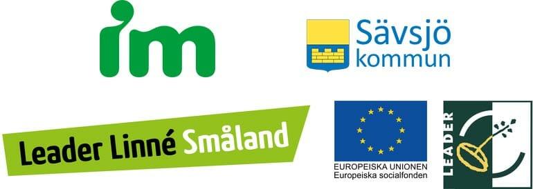 Logotyper: IM individuell Människohjälp, Sävsjö kommun, Leader Linné Småland, Europesika Unionen och Leader.