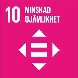 En rosa fyrkant med globala målet numer 10 på. Minskad ojämlikhet.