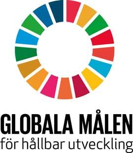 Globala målen logga. En regnbågsfärgad cirkel med texten Globala målen för hållbar utveckling i botten.