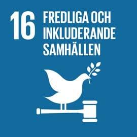 Globala målet 16 logga. Blå bakgrund med en vit text och en vit duva. Texten säger fredliga och inkluderande samhällen.