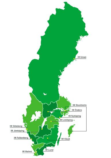 SVerigekarta som visar IMs lokalföreningar