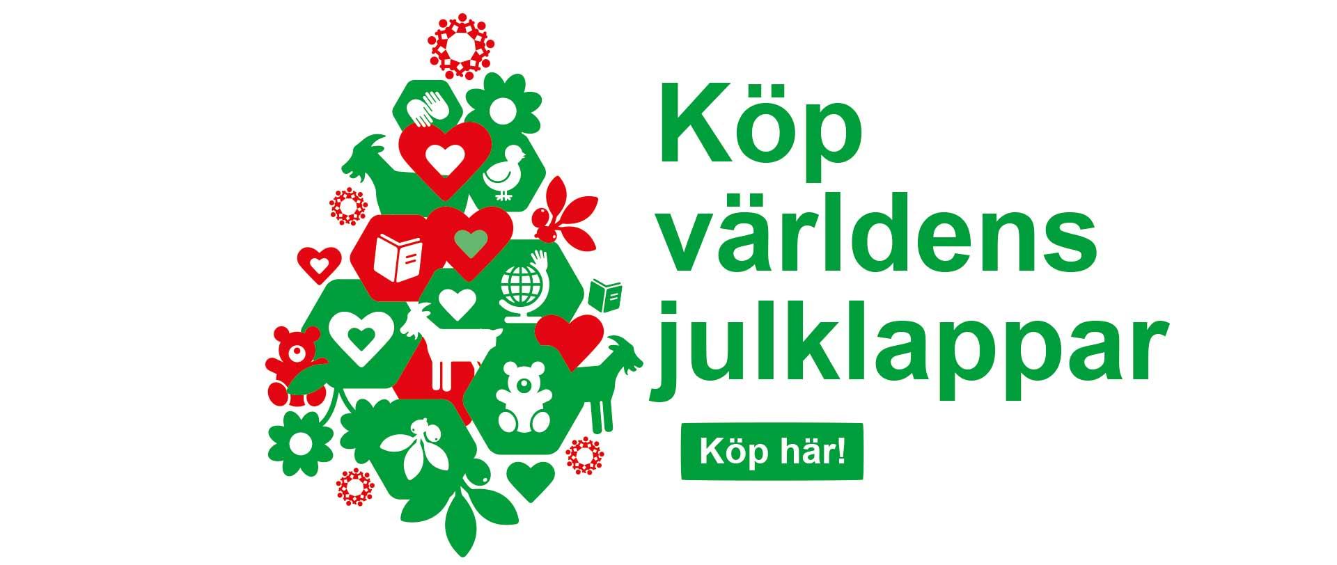 Illustration av julgran dekorerad med biståndsjulklappar.