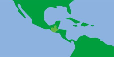 Karta över Cnetralamerika med fokus på Guatemala och El Salvador
