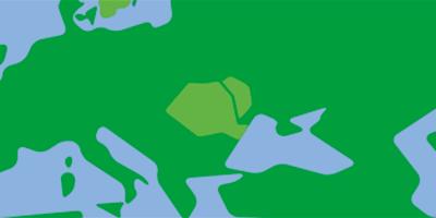 Karta över östra Europa med Moldavien, Rumänien och Ukraina i Fokus