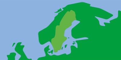 Karta över norra Europa med Sverige i fokus
