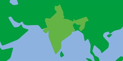 Karta över Syasien med fokus på Indien och Nepal.